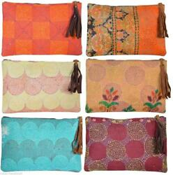 wholesale lot of vintage silk designer kantha purses Indian handmade Makeup Bags