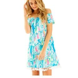 Lilly Pulitzer Marble Beach And Bae Sunglow Sailboat Off Shoulder Dress Sz S NWT $109.99