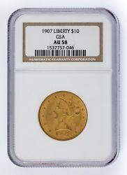 1907 G10 Gold Liberty Head Graded By Ngc As Au-58 Released By Gsa