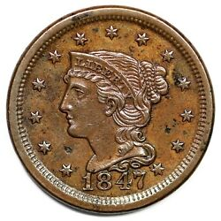1847/47 N-18 R-5 Large Over Small Date Braided Hair Large Cent Coin 1c