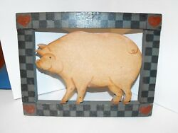 1986 Signed Wood Country Kitchen Sign Wall Plaque Wall Hanging Pig Vintage Look