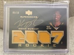 2007 07-08 UD Black #106 KEVIN DURANT RC Quad Jersey Auto 5/10 very low serial #