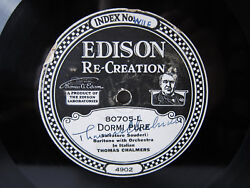78rpm Thomas Chalmers Sings Dormi Pure - Edison Signed By Chalmers