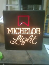 Vintage Michelob Light 18x18 Square Lighted Box Beer Sign Bar Man Cave Mancave