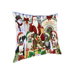 Happy Holiday Christmas American Staffordshire Terrier Dog House Pillow PIL66532