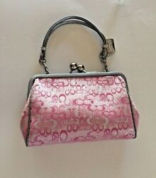 Authentic COACH  PinkSilver Kisslock Jacquard Clutch Handbag Evening Bag (8948)