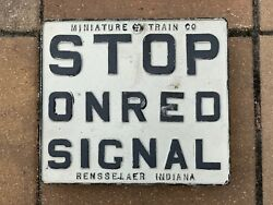 """Cast Iron Railroad """"stop On Red Signal"""" Sign - Fast Shipping"""