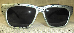 True Vintage Opti Ray Sunglasses Silver and Black Frames Gray Lenses $25.00