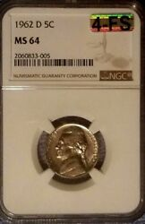 1962 D Jefferson Nickel Ngc Ms64 And Mac Certified Four Full Steps