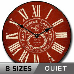 Vintage Galeries Red Clock, Large Wall Clock, Ultra Quiet, 8 Sizes Life Warranty