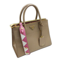 Prada Paradigme Shoulder Hand Tote Bag Beige Pink Carf Leather 1BA102 Never Used