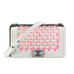 Boy CHANEL 2016 Act2 Flower Stitch Chain shoulder bag White Pink Used Mint Rare