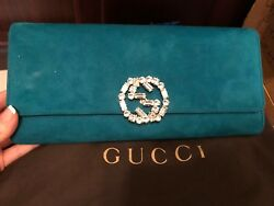 New Rare Gucci Turquoise Blue Suede Crystal Embellished GG Logo CLUTCH Handbag