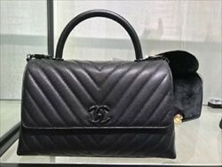 Chanel Chevron Chain Shoulder Hand Tote Bag Limited Black Rare Never Used Mint