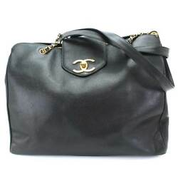 Auth CHANEL Supermodel Chain Tote Bag Cavier Skin Leather Black Vintage 90057247