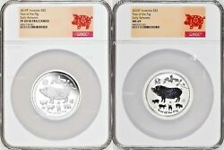 2-coin-set 2019 Lunar Year Of The Pig 2x 2oz 2 Silver Ngc Pf69+ms69 Proof+bu Er
