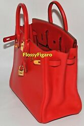 AUTHENTIC HERMES BIRKIN HAC 32CM ROUGE VIF GULLIVER GOLD PLATED HW - PREOWNED