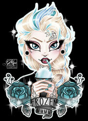 New Lowbrow Art Company Elsa Frozen Canvas Giclee Prints Made In The Usa Tattoo