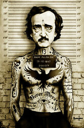 New Lowbrow Art Company Poe Mugshot Canvas Giclee Prints Made In The Usa Tattoo