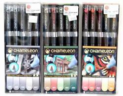 NEW Chameleon Markers Pens Gray Nature & Warm Tones - Three Packs - 15 Pens