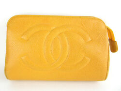 Authentic CHANEL CC Yellow Cavia Skin Leather Cosmetic Pouch Bag