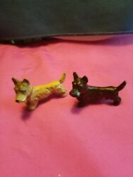 Vintage Cold Painted Metal Scottish Terrier Figurines 2