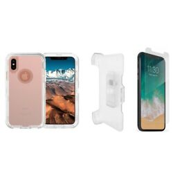 For Iphone Xs Max Transparent Defender Case W/screenandclip Works W/otterbox Clear
