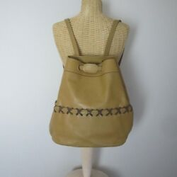 Tramontano Light Tan Brown Leather Handmade Bucket Hobo Bag Made Italy Large