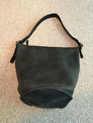 Vintage Coach Black Leather Large Bucket Tote Bag Solid Brass Hardware USA Made