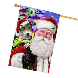 Santa Carrying Wire Fox Terrier Dog and Christmas Presents House Flag FLG53909