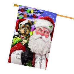 Santa Carrying Australian Terrier Dog and Christmas Presents House Flag FLG53867