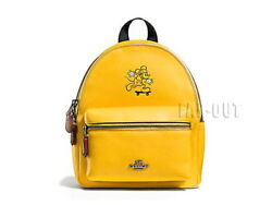 COACH Disney Mickey Collab F59837 Backpack Yellow Leather Small size NEW