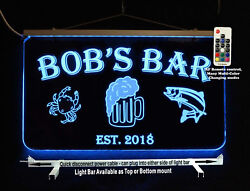 Personalized Bar Sign, Man Cave Sign, Game Room Sign, Fish, Crab, Beer