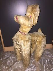 Vintage Antique 24 Plush Straw Filled Stuffed Animal Toy Light Brown Poodle