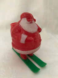Vintage Rosbro Christmas Hard Plastic Santa On Skis Candy Container