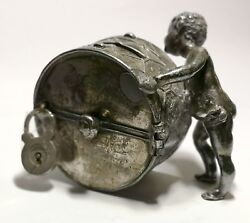 Piggy Bank In The Shape Of Child With Drum. Silver Metal Plated. Early 20th Cent
