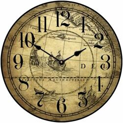 Tan Map Wall Clock Antique Classic Look Perfect For Office