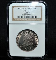1807 CAPPED BUST HALF DOLLAR ✪ NGC AU-58 ✪ 50/20 O-112 50C LARGE STARS ◢TRUSTED◣