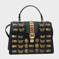 Gucci 431665 D4Z1X Tote Hand Shoulder Bag Silvi Animal Studs Leather Used Ex++
