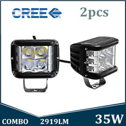 2X 4inch 35W CREE LED Work Light Side Shooter Cube Pods Combo Offroad Driving