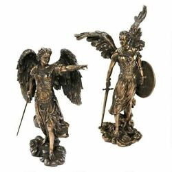 Archangels Raphael and Uriel stand Before Throne Of God Cold Cast Bronze Statues