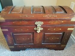 Pakistan Solid Wood Storage Pirate Captains Treasure Chest Brass Inlay