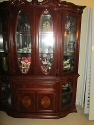 Georgian Solid Mahogany China Buffet Curved Glass And Light
