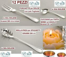 Set N.12 Forks Sweet Style English Silver 800 Solid G 260 C/a