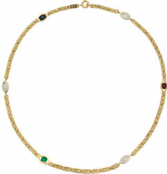 Fine Necklace 18kt Gold Diamonds.rubyemerald And Sapphire 1.84ct -20.90gr L=16.5