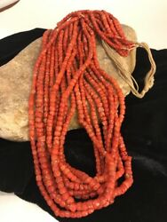 """Navajo Vintage Authentic Coral 9 Strand Graduated Necklace Gift 30"""" Old Pawn"""