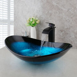 Us Colorful Tempered Glass Bathroom Vessel Sink Basin Bowl And Faucet+chrome Drain