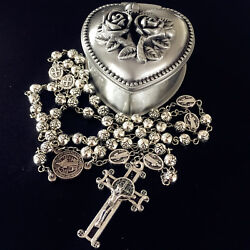 Rose Beads St.benedict Rosary And Italy Crucifix Cross Medal Catholic Necklace