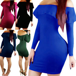 Women Bandage Bodycon Long Sleeve Evening Party Cocktail Mini Dress Off Shoulder