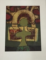 Vintage 1967 Original Abstract Art By Listed Artist Alfonsas Dargis Oil On Paper